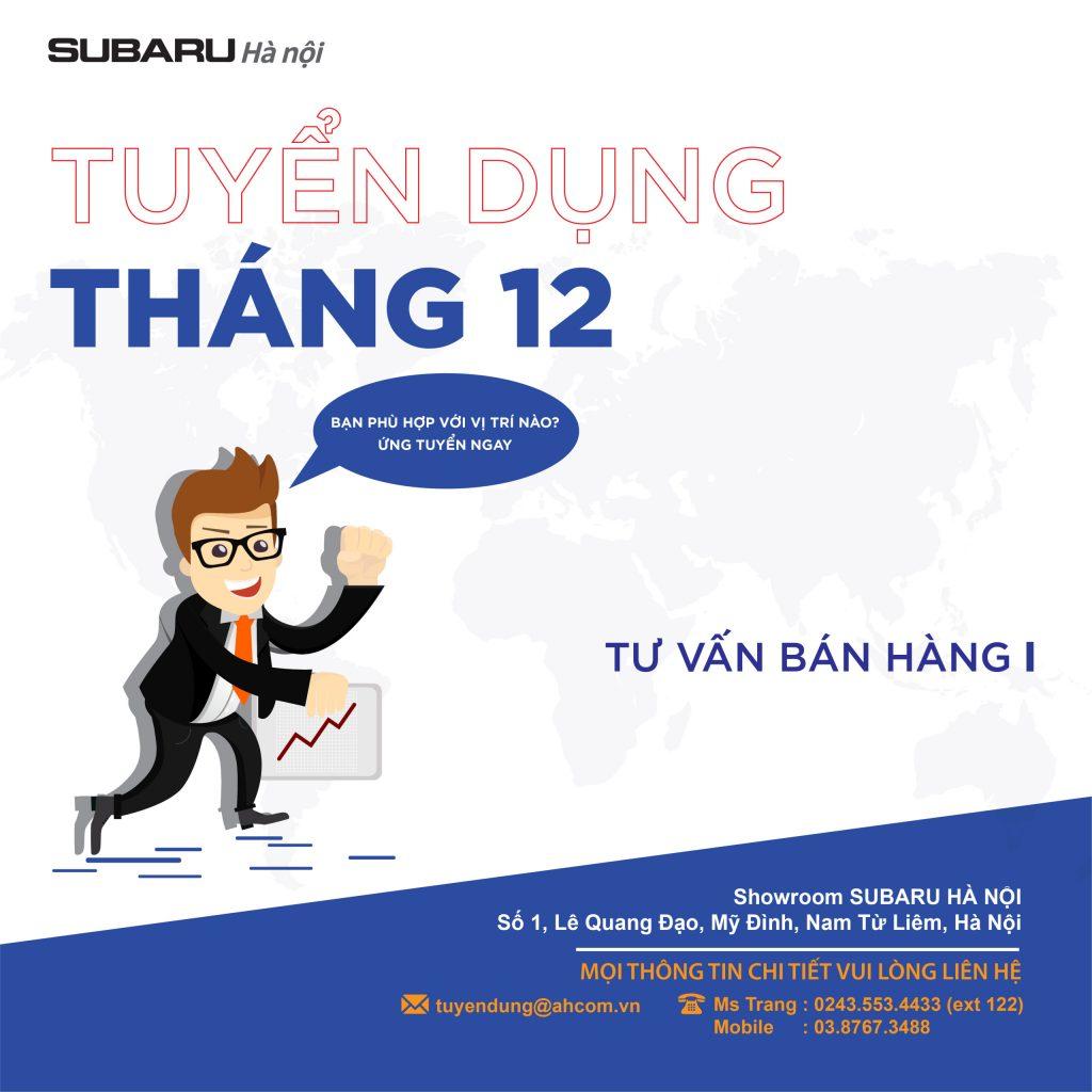 Thông tin tuyển dụng tháng 12 Subaru Hà Nội